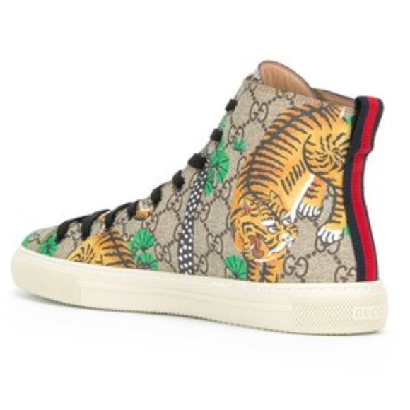 Gucci Other - Authentic Gucci monogram tiger hightop sneakers 39ca845b4